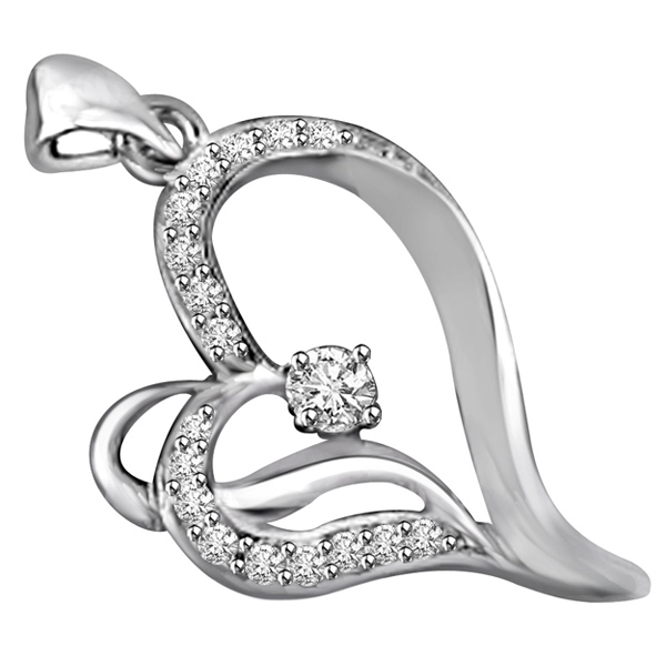 White Gold & Diamond Heart Pendant