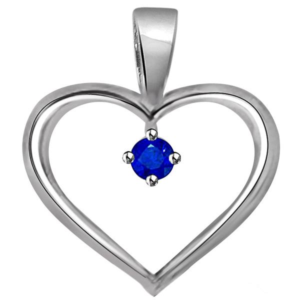 Blue Solitaire Sapphire White Gold Heart Pendant