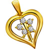 Flower Shape Diamond In Heart Pendant