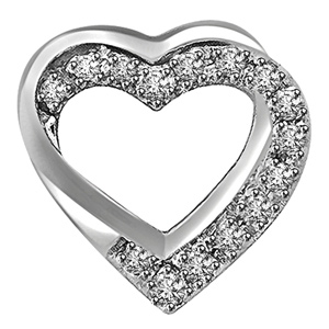 Diamond Pendants-Double Heart Shaped Pendant In White Gold