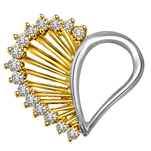 Diamond Pendants-Two Tone Heart Diamond Pendant