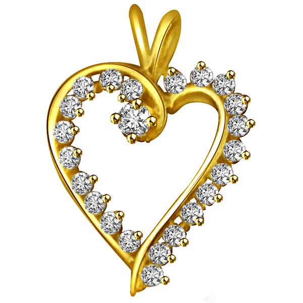 White Diamond Heart Pendant