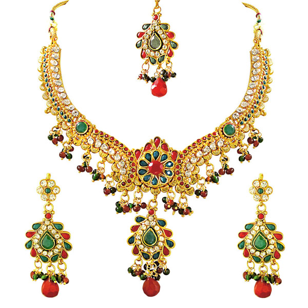 Stone & Gold Plated Necklace, Earrings & Tikka Set