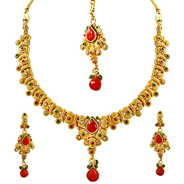 Gold Plated Sets-Stone & Gold Plated Necklace, Earring & Tikka Set