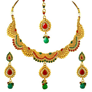Gold Plated Sets-Red, Green & White Stone & Gold Plated Necklace, Earrings & Tikka Set