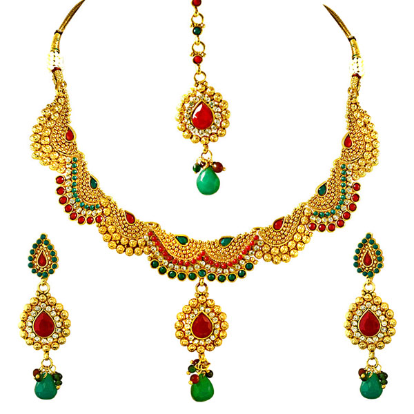 Red, Green & White Stone & Gold Plated Necklace, Earrings & Tikka Set