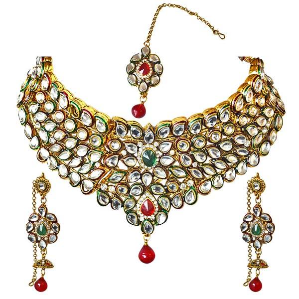 Colored Stone & Kundan Gold Plated Necklace, Earrings & Manga Tikka Set