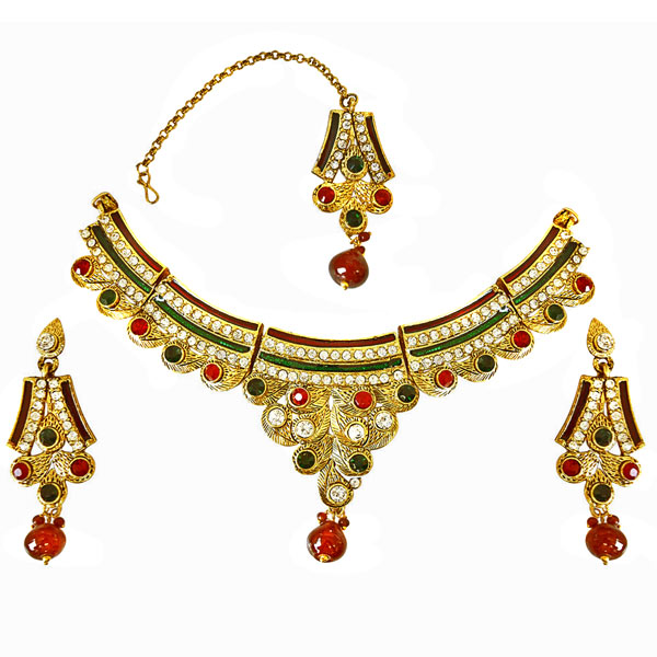 Precious Stone Sets-Traditional Red, Green & White Colored Stone Set with Enamel