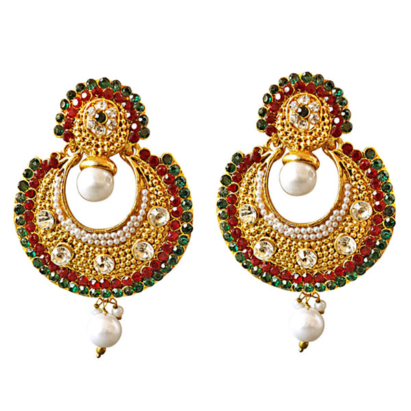 Traditional Round Shaped Red, Green & White Stones & Gold Plated Earrings