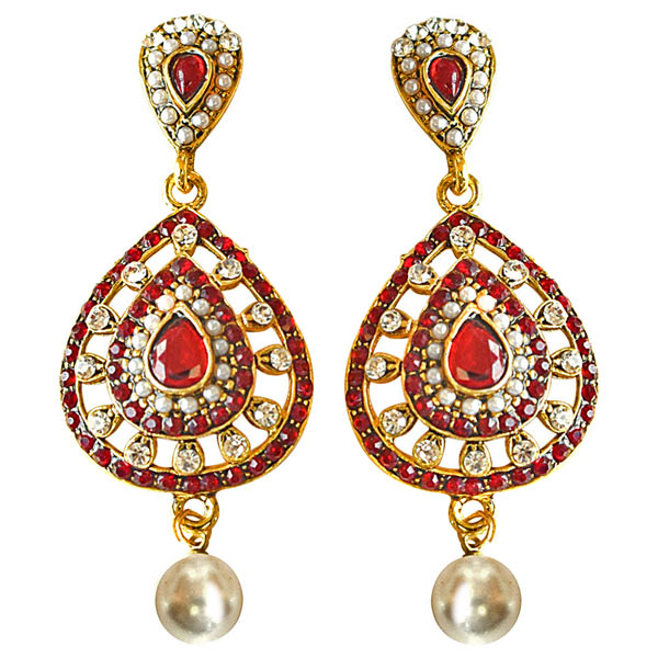 Gold Plated Earrings-Drop Shaped Red & White Colored Stone, Shell Pearl & Gold Plated Earrings