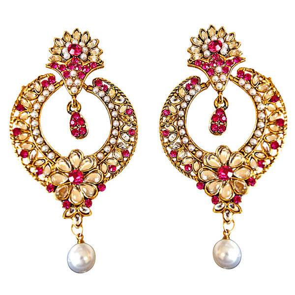 Trendy Pink & White Colored Stone, Shell Pearl & Gold Plated Earrings