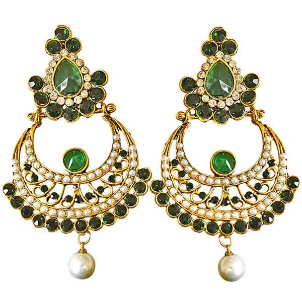 Ethnic Green & White Colored Stone & Shell Pearl & Gold Plated Earrings