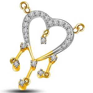 Diamond Pendants-Diamond and Gold Heart Shape Pendant