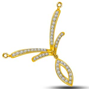 Diamond Pendants-Diamond and Yellow Gold Pendant