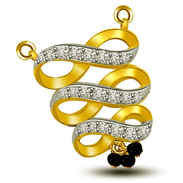 Diamond and Gold Mangalsutra Pendant
