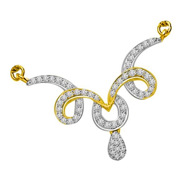 Two Tone Diamond Mangalsutra Pendant