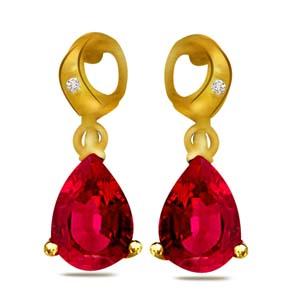 Diamond Earrings-Diamond and Ruby Earrings