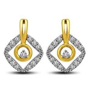 Diamond Earrings-Two Tone Gold and Diamond Earrings