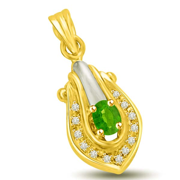 Emerald and Diamond Two Tone Gold Pendant