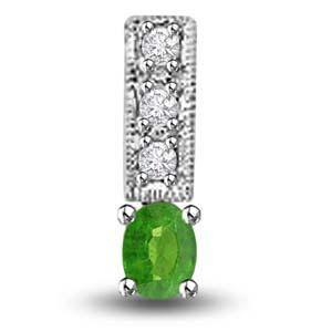 Diamond Pendants-Emerald and Diamond Pendant in White Gold