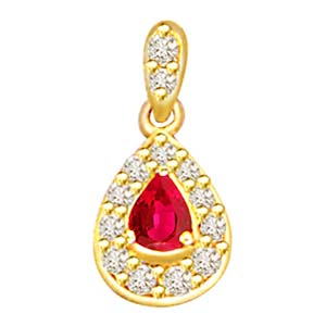 Diamond Pendants-Diamond and Pearl Ruby Pendant