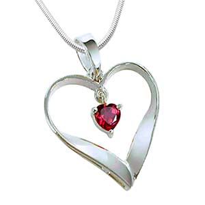 Silver Pendants-Red Ruby and Silver Pendant