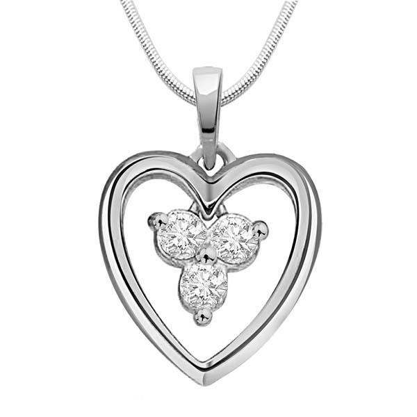 Diamond Pendants-Diamond and Silver Pendant