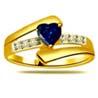 Diamond & Heart Sapphire Gold Ring