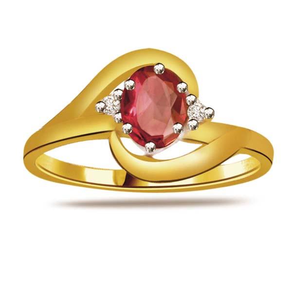 Diamond-Diamond & Ruby Gold Ring