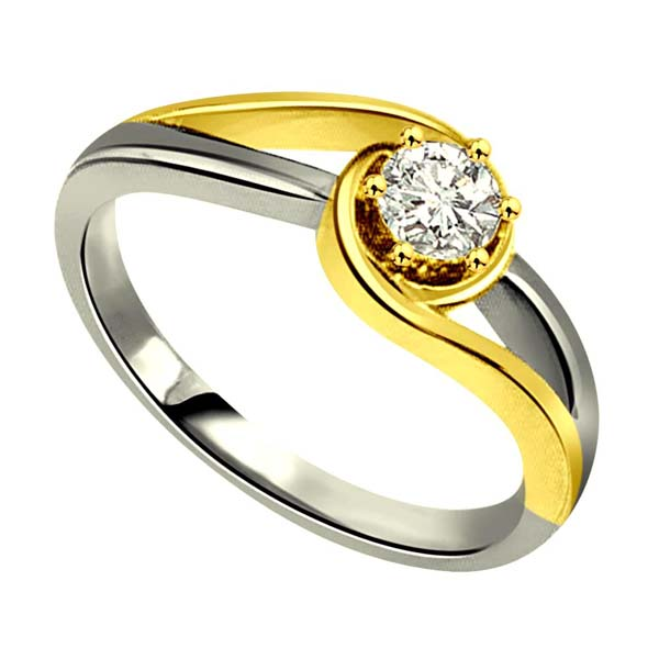 Two Tone Diamond Gold Ring