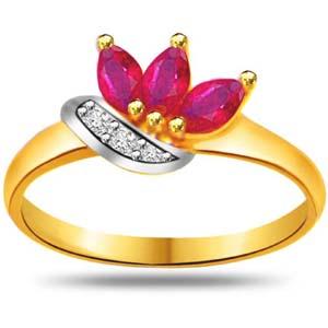 Diamond-Diamond & Marquise Ruby Ring