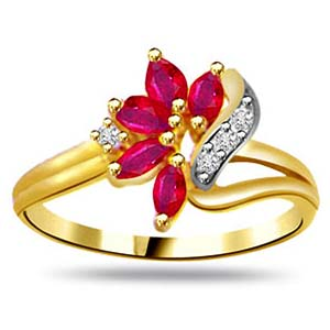 Diamond-Diamond Marquise Ruby Ring