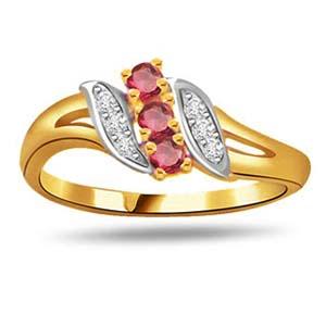 Diamond-Diamond & Ruby Ring