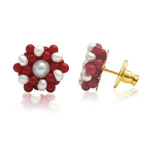 Pearl Earrings-Pearl & Red Coral Earrings