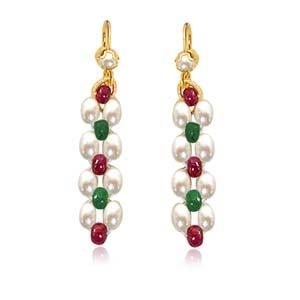 Pearl Earrings-Ruby & Emerald Beads & Rice Pearl Earrings