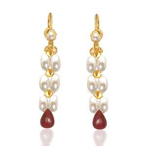 Pearl Earrings-Drop Ruby & Rice Pearl Earrings