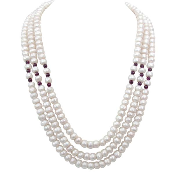 3 Line Pearl Necklace