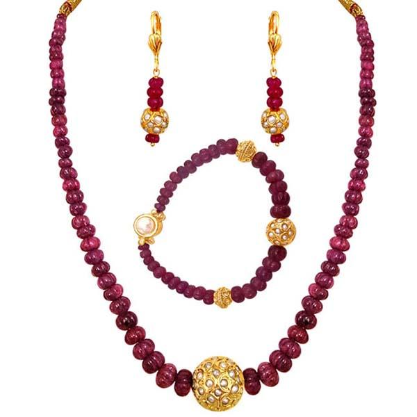 Ruby Beads Necklace, Earring & Bracelet Set