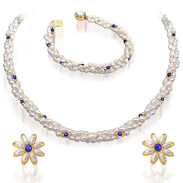 Real Pearl Necklace, Earrings & Bracelet Set