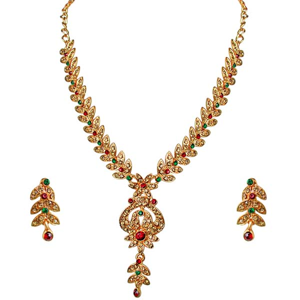 Traditional Floral Shaped Necklace & Earrings Set