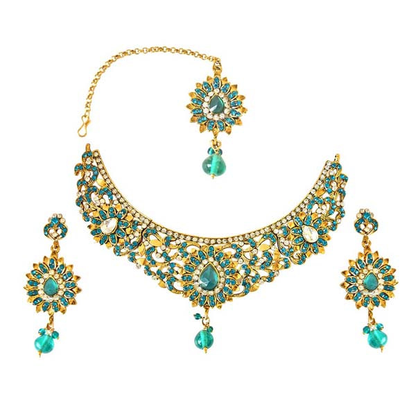 Bridal Sets-Blue & White Necklace Earrings & Manga Tikka Set
