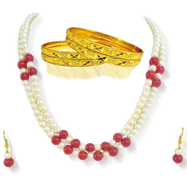 Pearl Sets-Two Line Pearl & Red Beads Set with Bangles