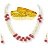 Two Line Pearl & Red Beads Set with Bangles