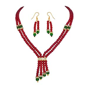 2 Line Red & Green Beads Set