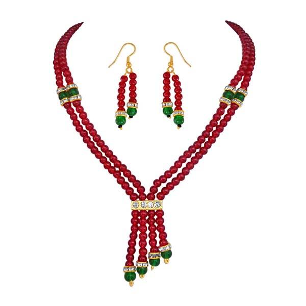 Precious Stone Sets-2 Line Red & Green Beads Set