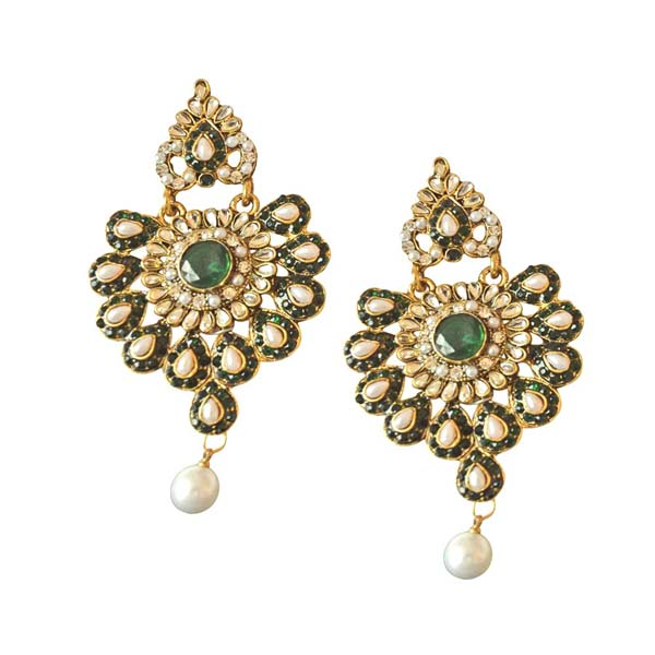 Gold Plated Earrings-Floral Designed Chand Bali Earrings