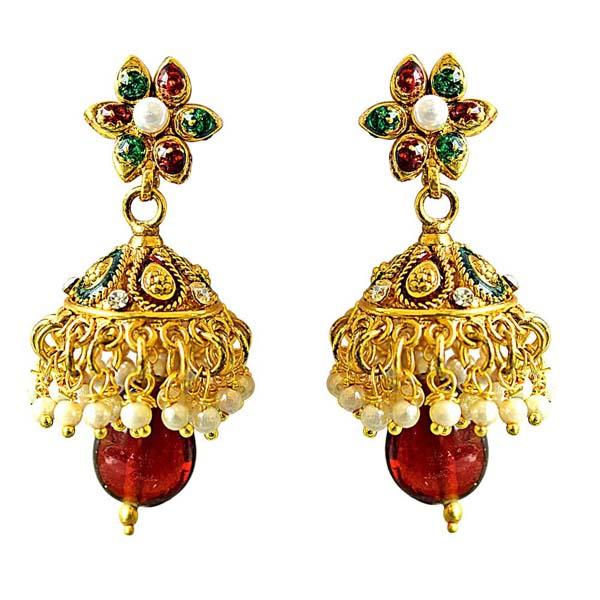 Precious Stone Earrings-Traditional Copper Jhumki Earrings