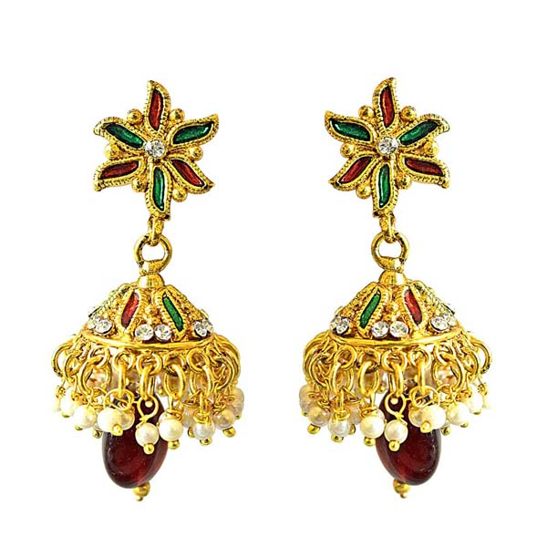 Traditional Floral Shaped Copper Jhumki Earrings