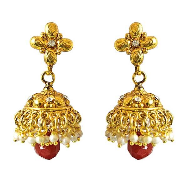 Precious Stone Earrings-Traditional Copper Jhumki Earring