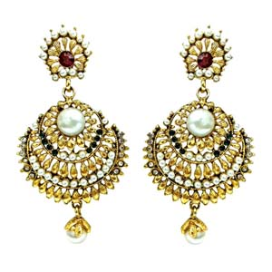 Precious Stone Earrings-Ethnic Hanging Earrings